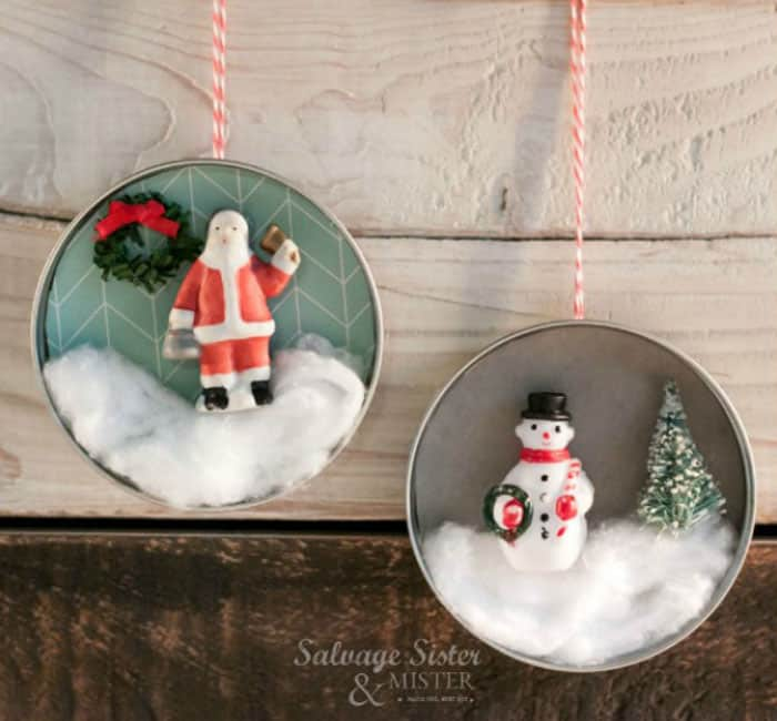 Mason Jar lid ornaments with vintage snowman and santa clause from salvage sister and mister
