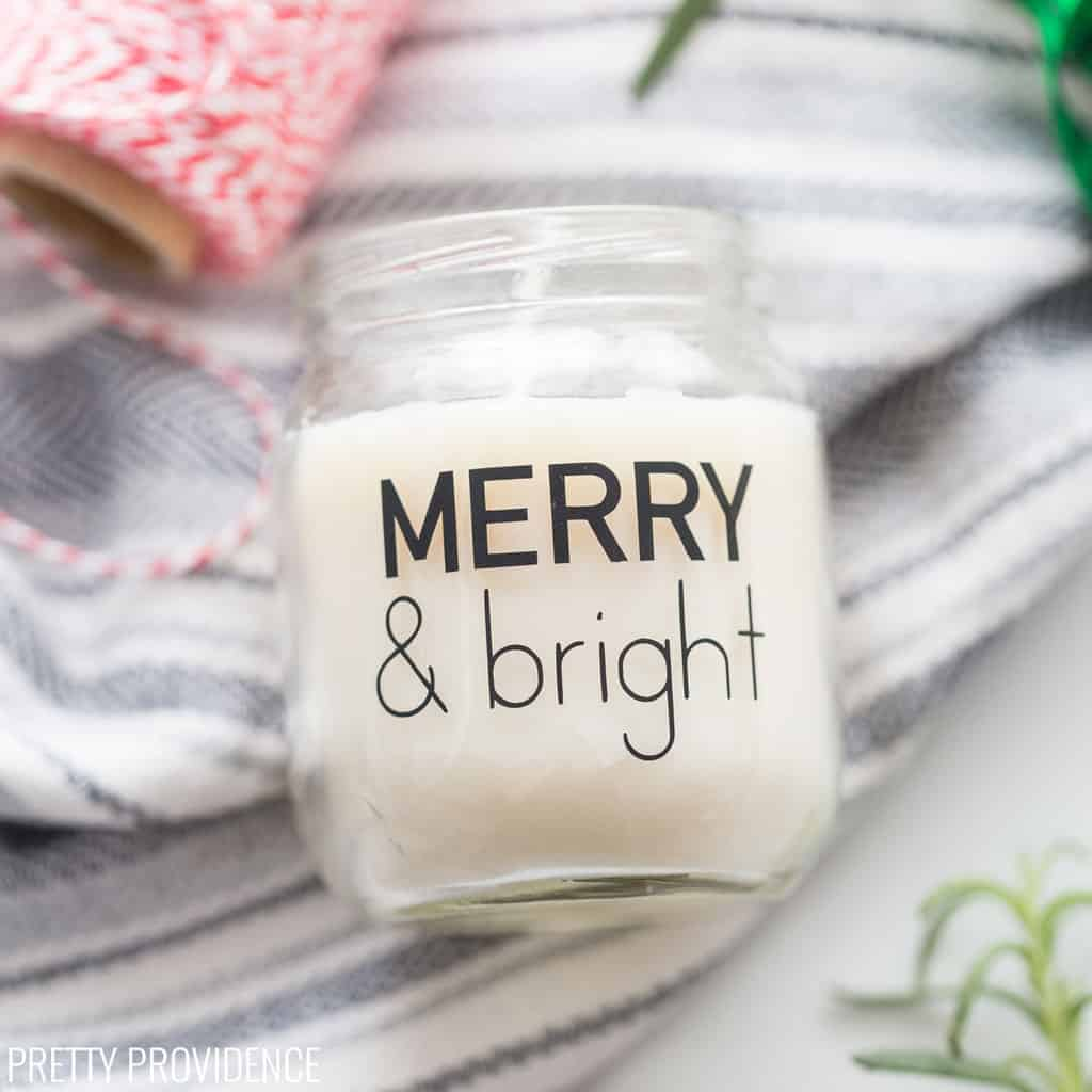 Merry & Bright vinyl label on a small soy wax candle