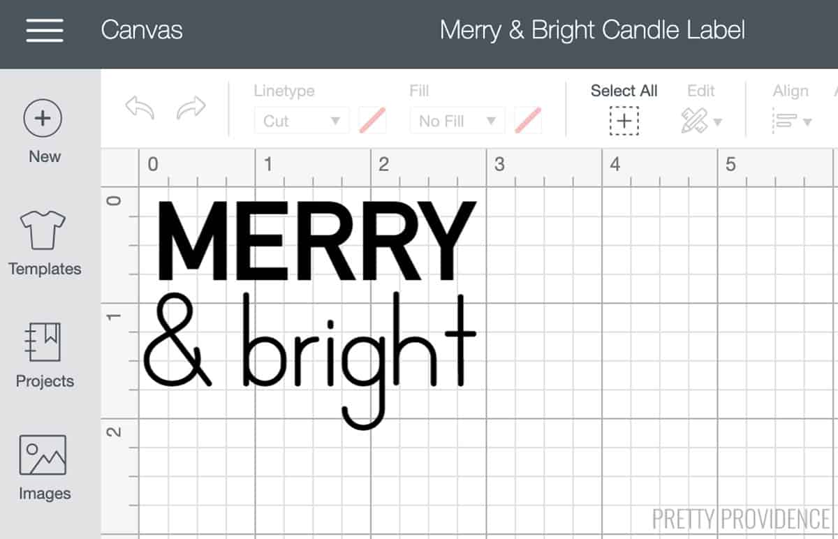 Merry & Bright design in Cricut Design Space