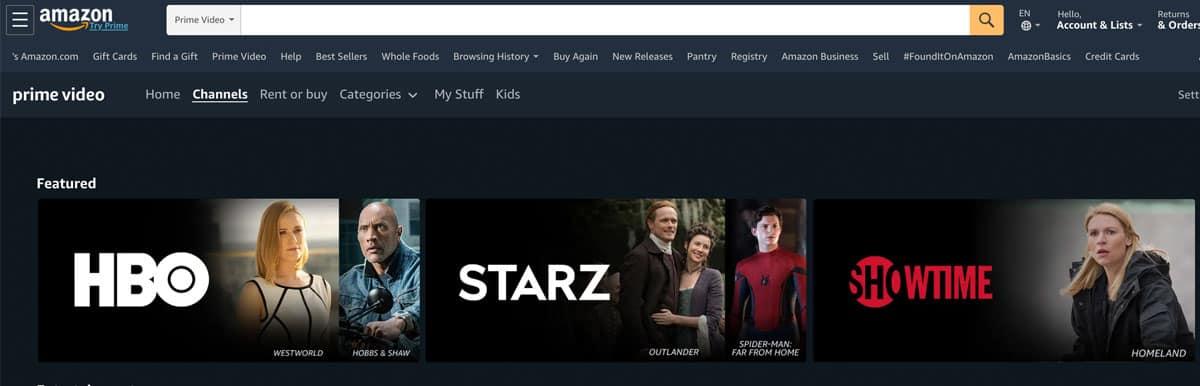 Premium Channels subscription options on Prime video