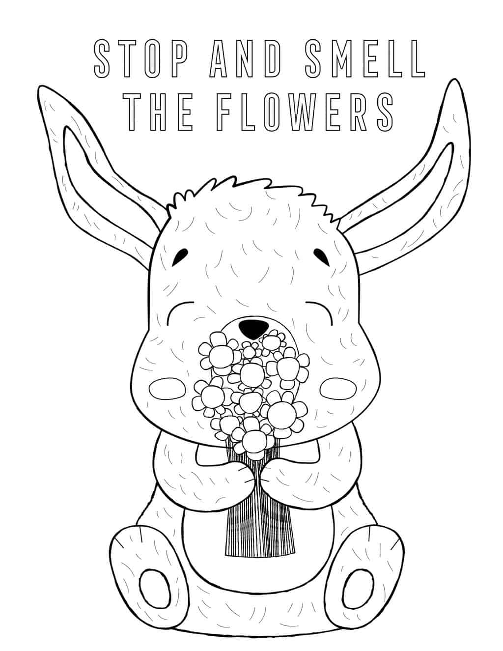 a coloring page of a bunny smelling a bouquet of flowers