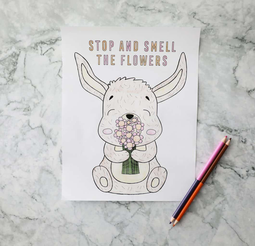 a coloring page of a bunny holding a flower bouquet on a granite counter