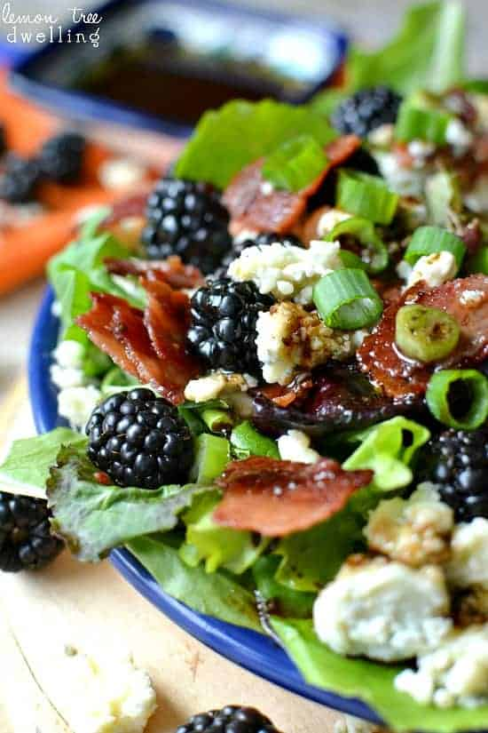 blackberry and blue cheese salad up close