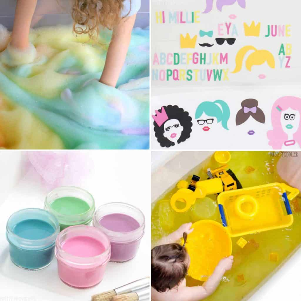 Bath activities for toddlers collage of 4 photos