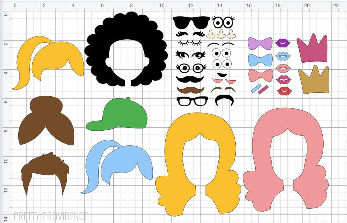 Cricut Design Space canvas with hairstyles and accessories to cut