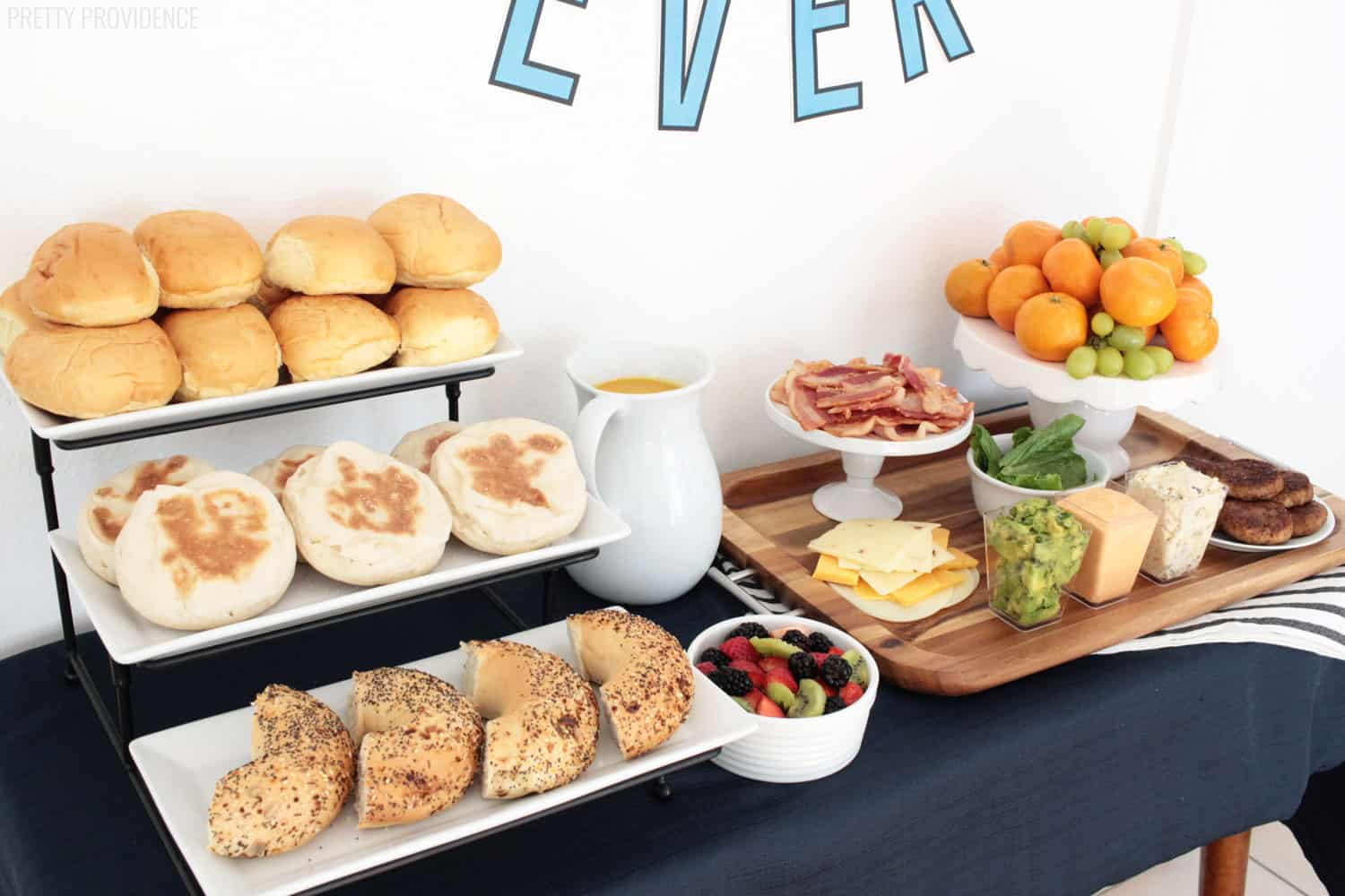 Breakfast sandwich barset up on a buffet table for Father's Day breakfast