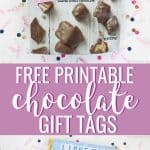 Chocolate gift tags and candy bar wrappers with confetti