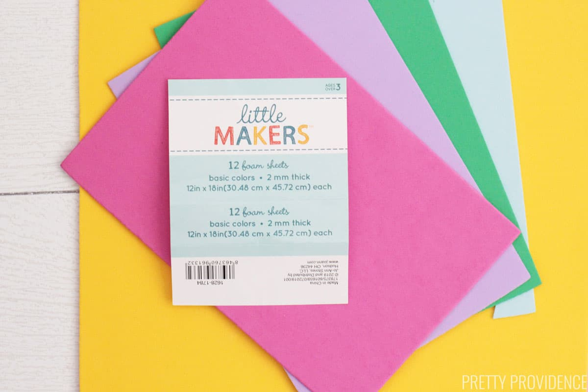Little Makers craft foam sheets in pink, purple, green, blue and yellow.