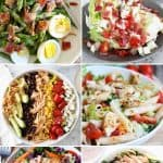 8 different images of green salads in a collage optimized for pinterest