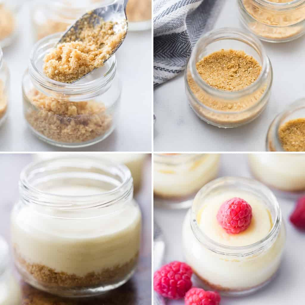 step by step photos for making mini cheesecakes in jars