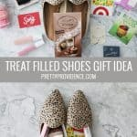 gift idea for women, shoes stuffed with treats and small gifts
