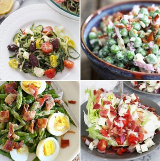 four pictures of unique green salads in a collage