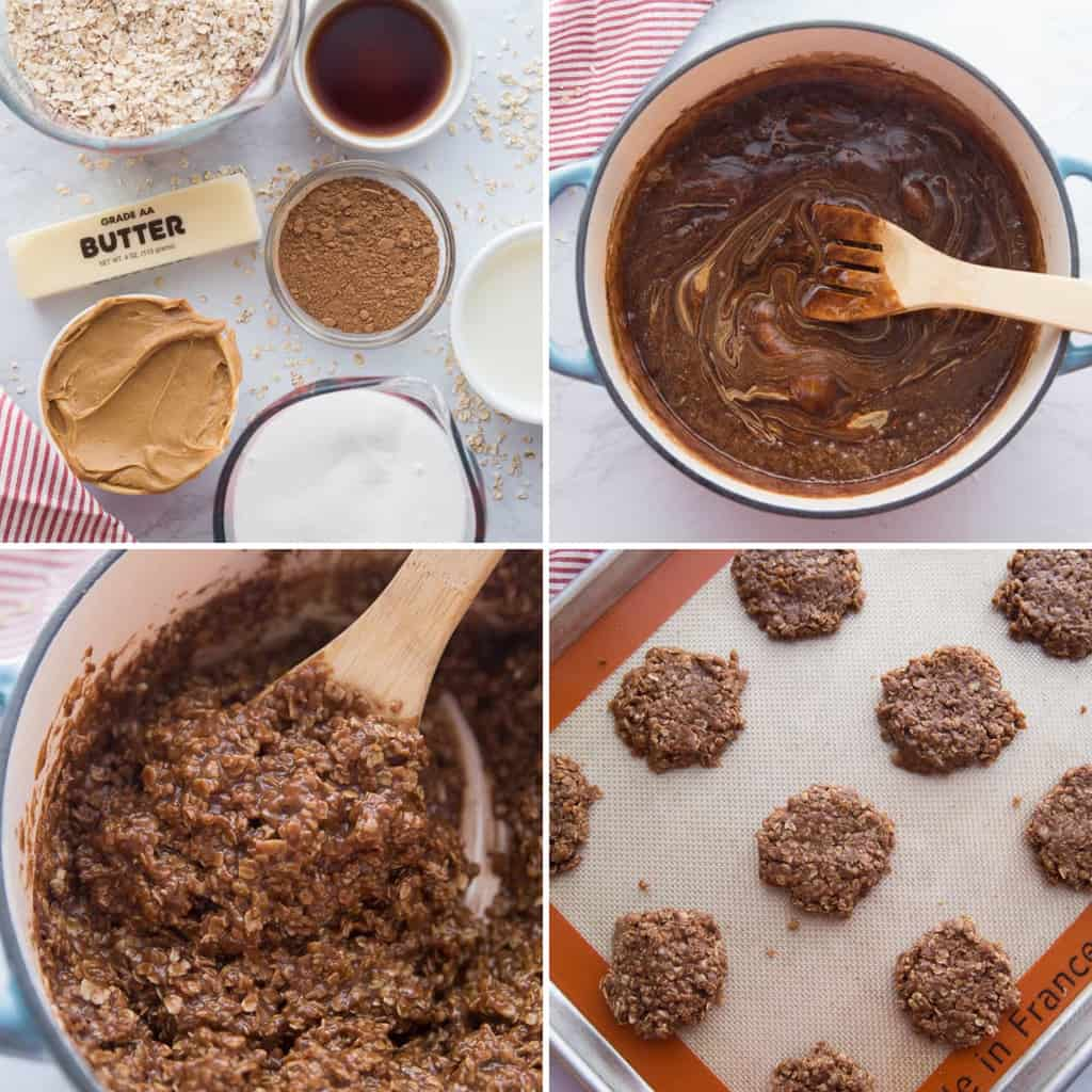 step by step collage image of how to make no bake cookies