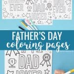Free Father's Day coloring pages that say '#1 Dad Jokes' 'Best Dad Ever' and 'Best Grandpa Ever'