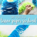 collage image showing how to make a diy garland out of tissue paper
