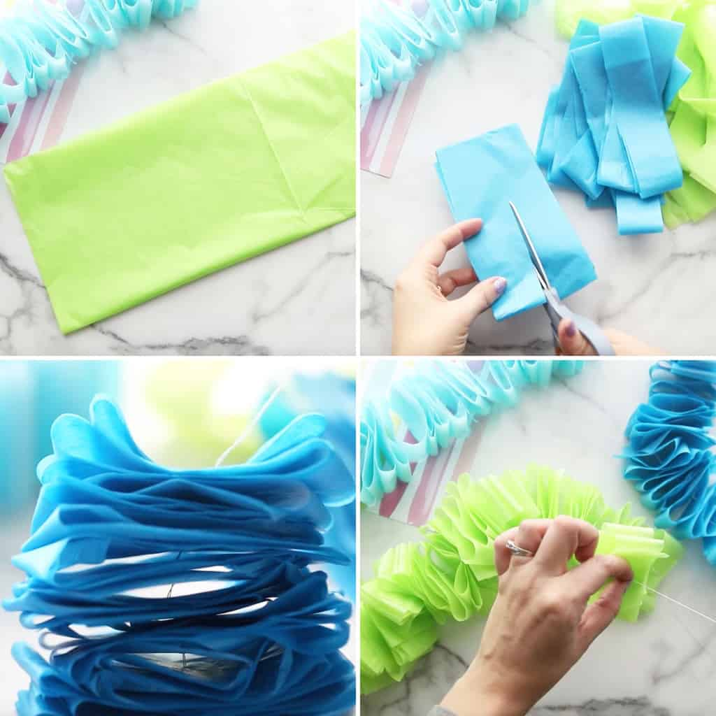 step by step photo collage for how to make a tissue paper garland