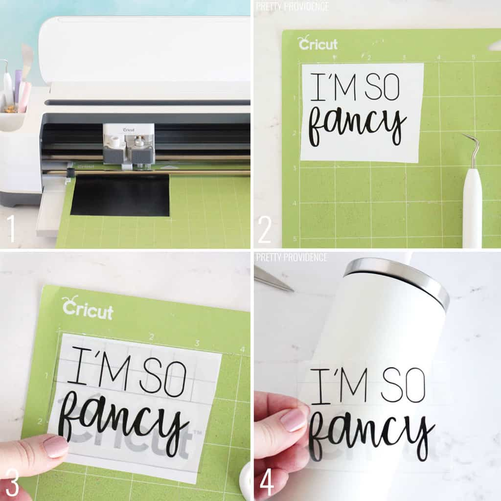 Step by step how to cut and apply vinyl decals to tumbler with Cricut maker