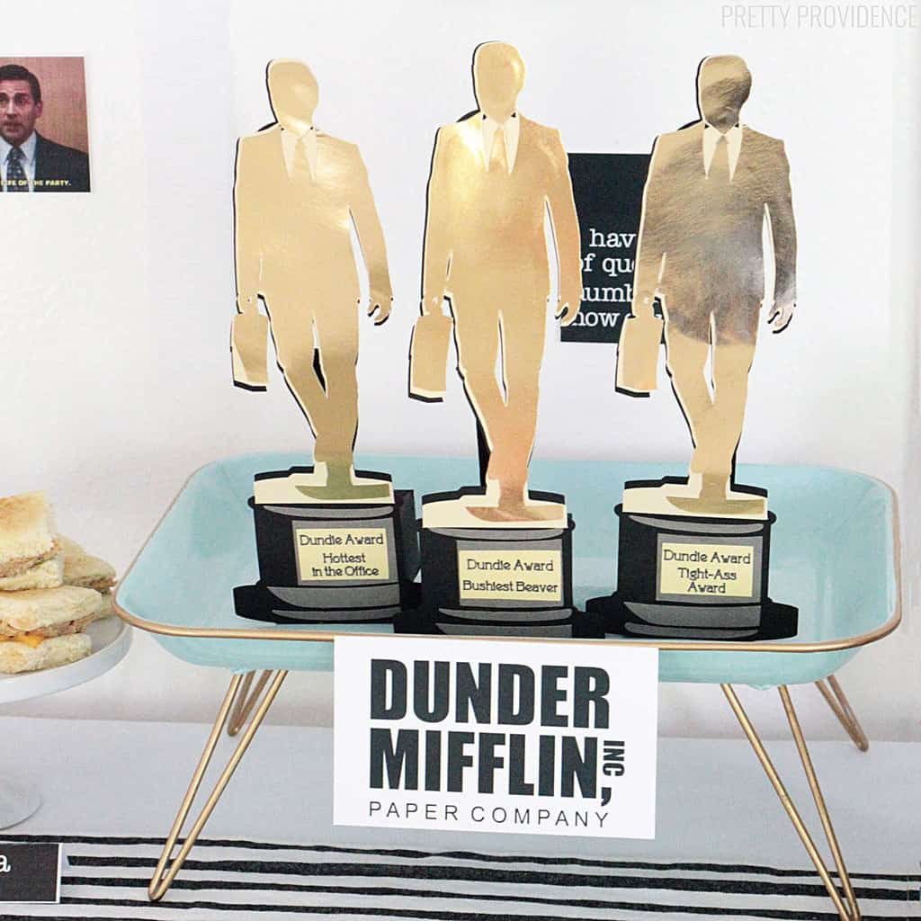 Dundie Awards made out of cardstock for for The Office birthday party