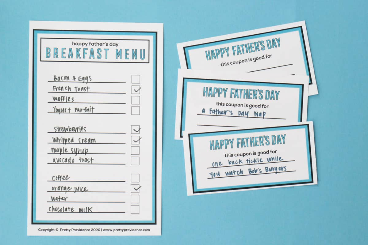 Father's Day coupons free printable and breakfast menu with check boxes