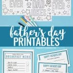 Father's Day printables - coupons, breakfast menu and coloring pages