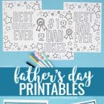 Father's Day printables - coloring pages,coupons, breakfast menu and fill-in-the blank questionnaire.