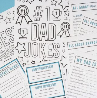 Free Father's Day printables - coloring pages, coupons, fill-in-the-blank-questionnaires, etc.