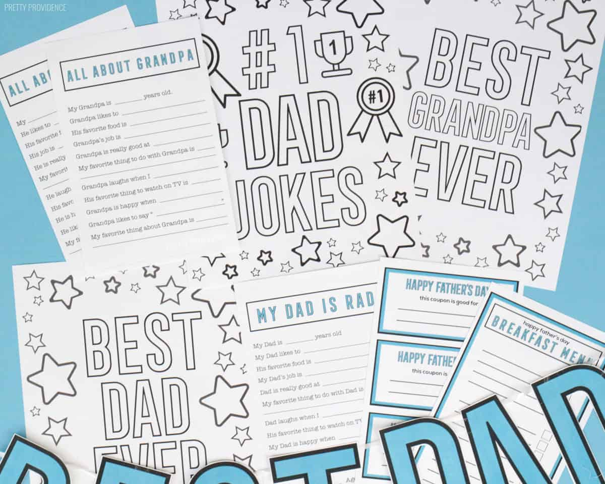Free Father's Day printables - coloring pages, fill-in-the-blank questionnaires, breakfast menu and coupons.