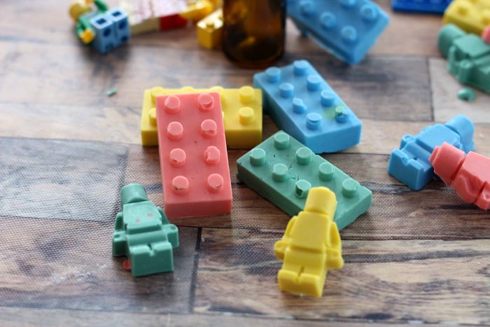Homemade Lego Soap Crayons for kids - minifigs and block shapes