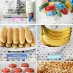 collage image of food for a mario birthday party with printable food labels
