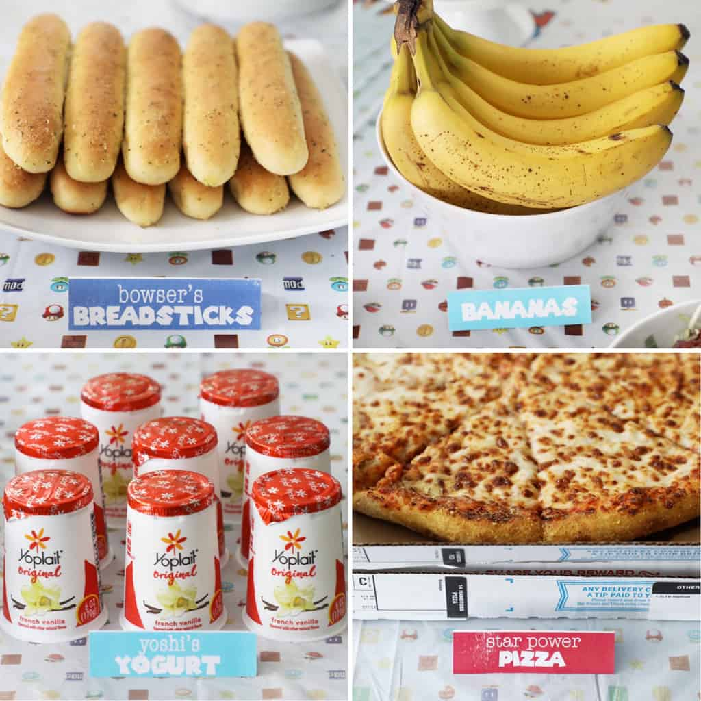 a collage image of food with mario party themed labels