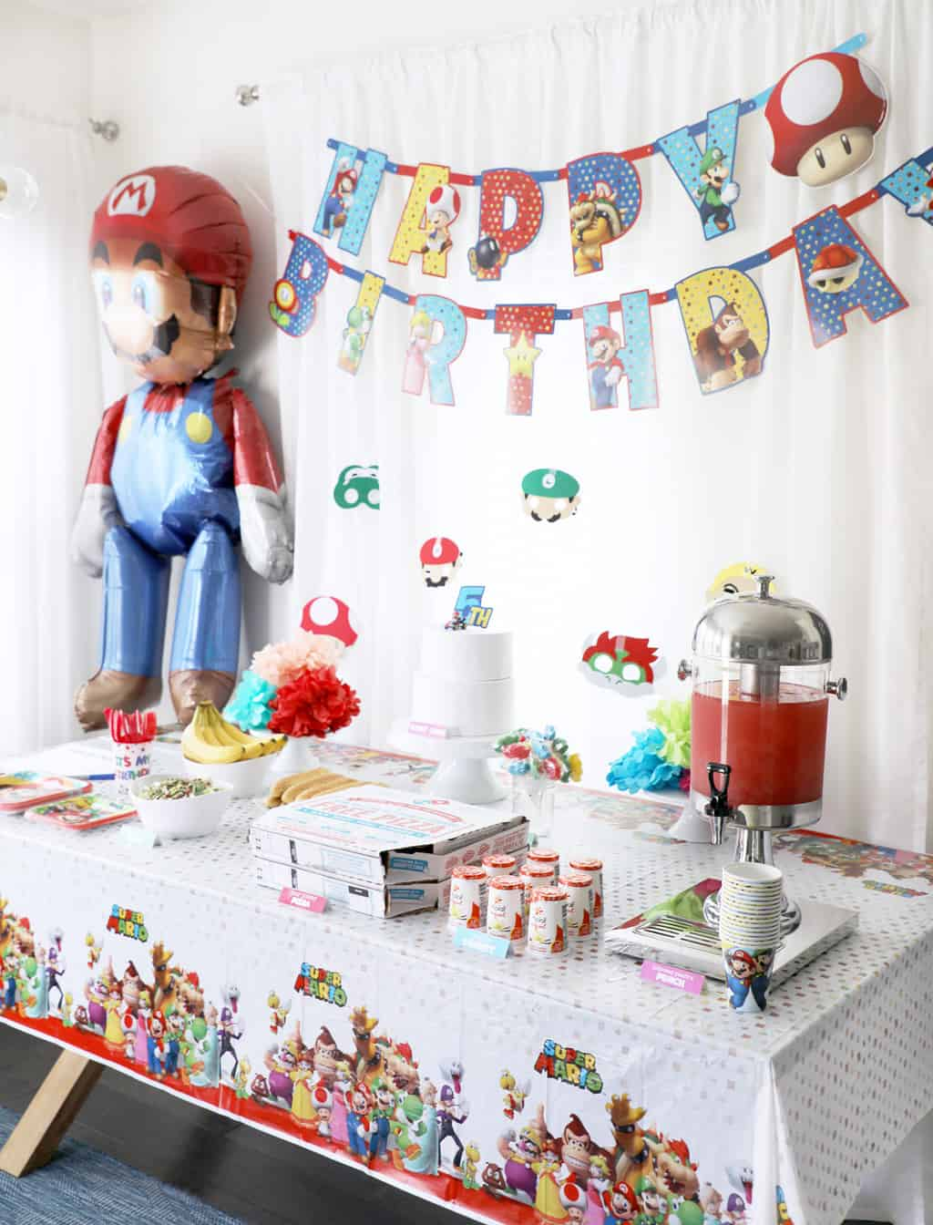 side image of a tables cape for a mario kart party