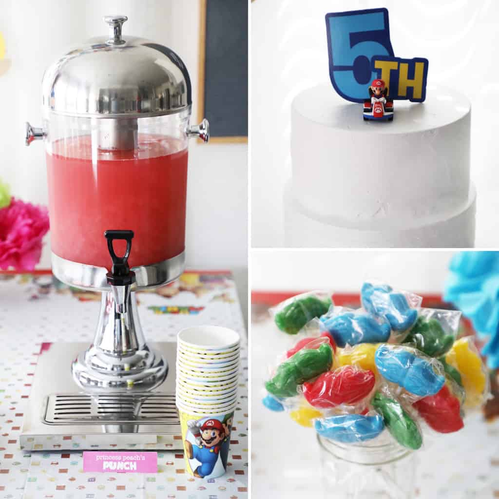 a collage image of different food items for a mario birthday party