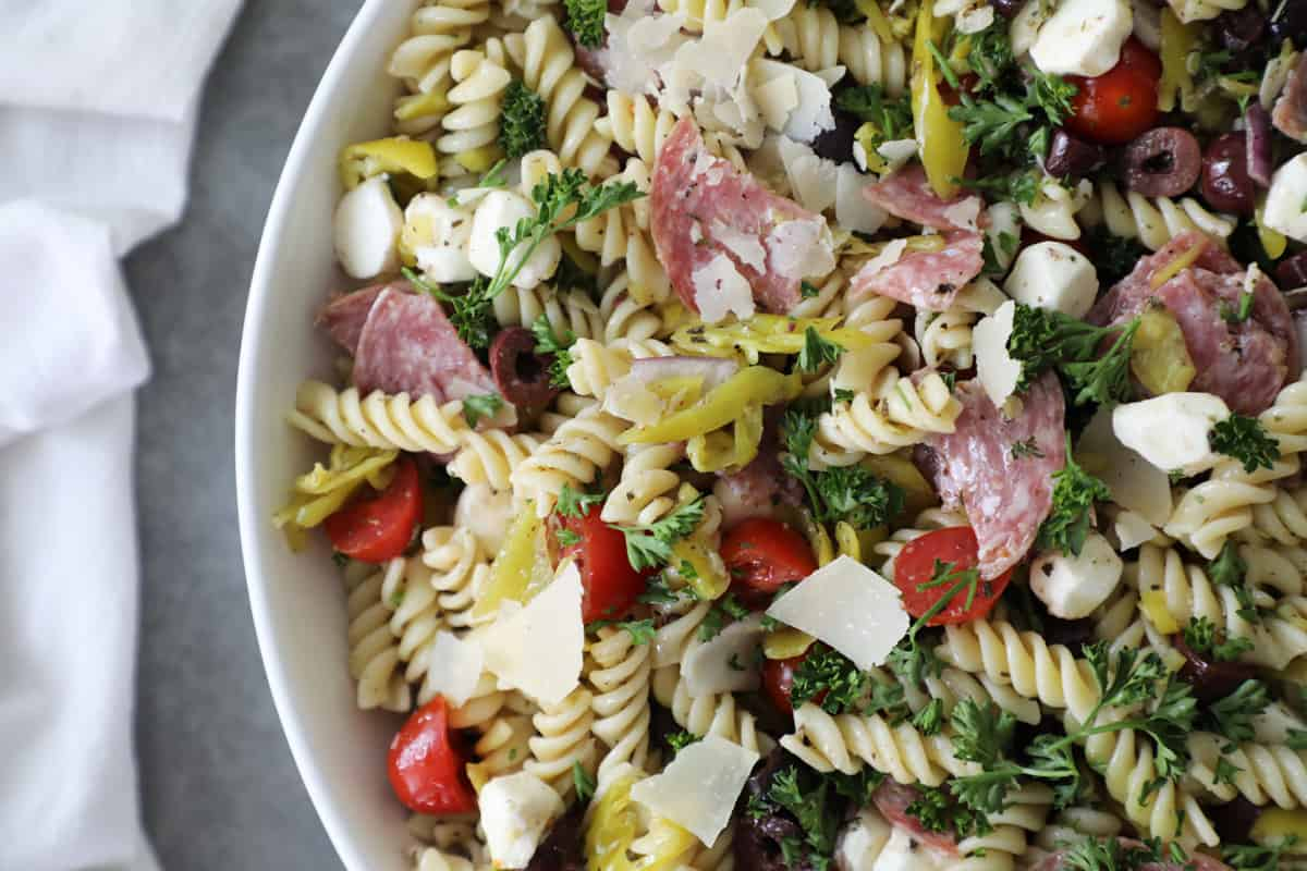 close up of pasta salad in a white bowl