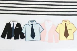 Shirts, ties and jackets inspired by The Office characters made out of card stock