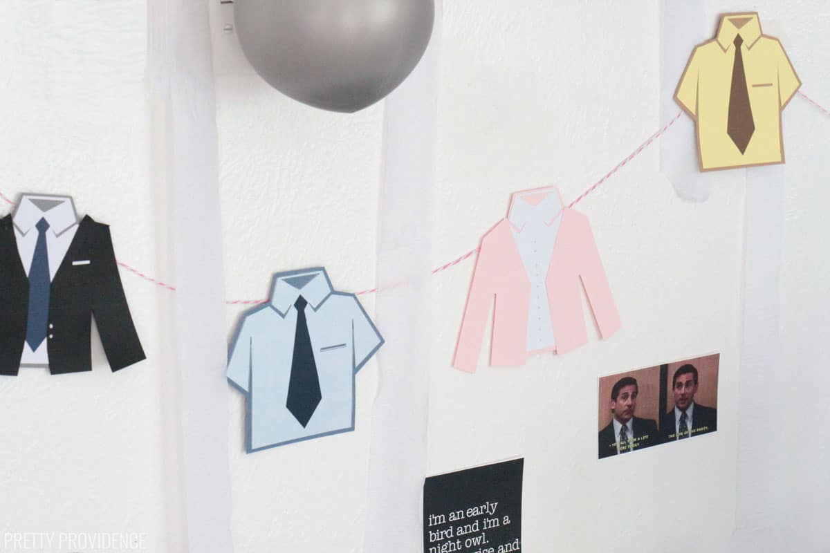 the Office tv show inspired paper banner of shirts inspired by Michael Scott, Jim, Pam and Dwight