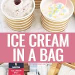 Ice cream in a bag collage with finished ice cream and ice cream ingredients photos.