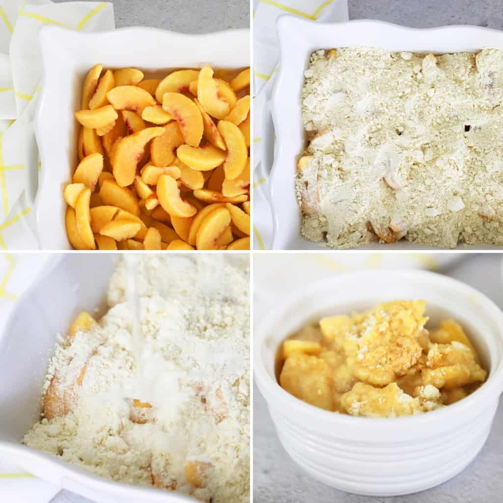 step by step photo collage for making easy peach cobbler