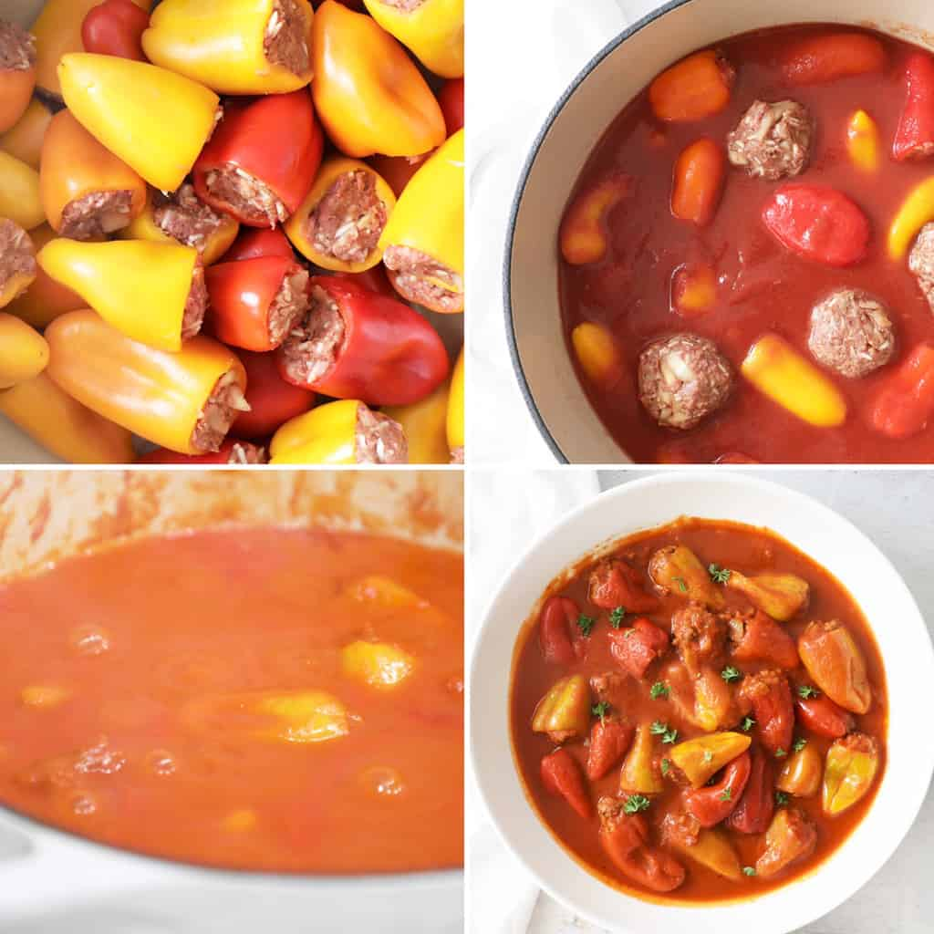 collage image of the steps to cook stuffed peppers