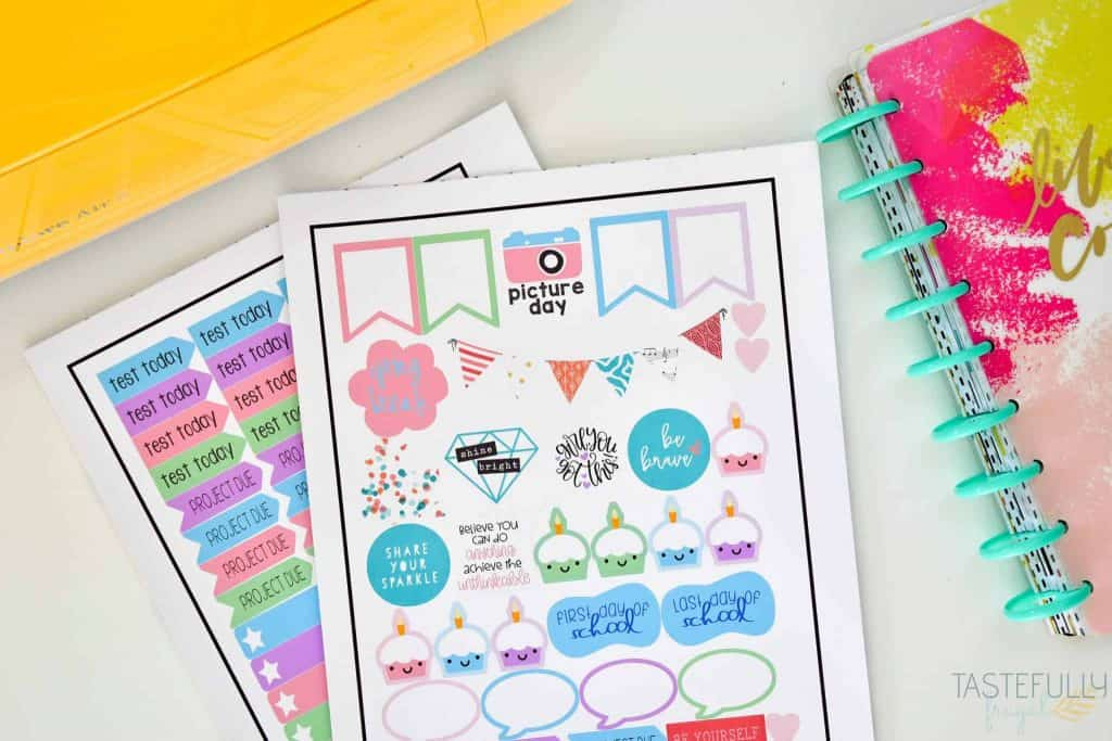 colorful DIY planner stickers