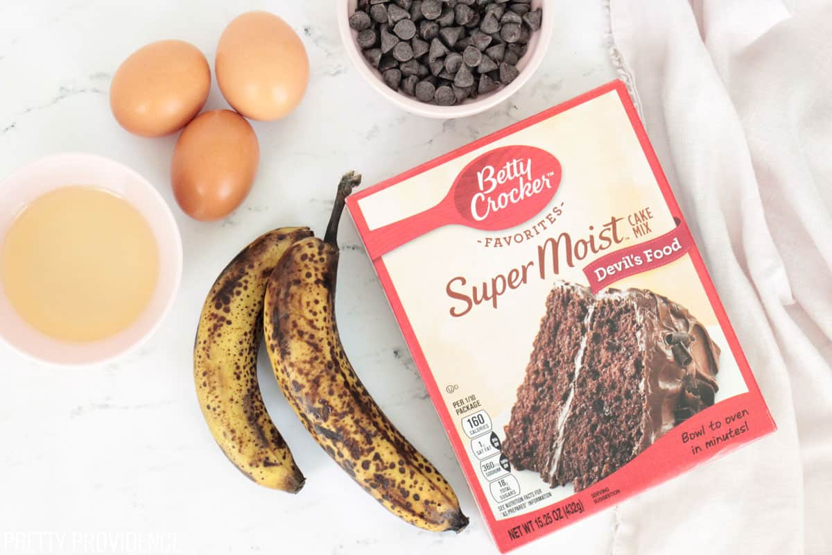 Ingredients for Chocolate Banana Bread: devil's food cake mix, eggs, bananas, oil and chocolate chips.