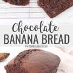 Chocolate banana bread sliced on a cooling rack, collage for pinterest
