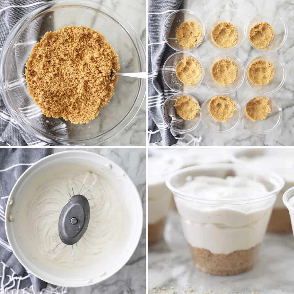 step by step collage of how to make mini cream cheese pies