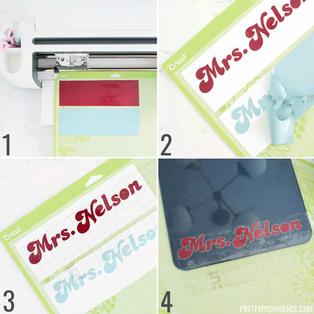 Cricut vinyl steps to cut, weed and apply to a clipboard, with step-by-step photos