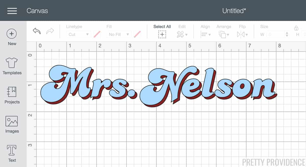 Retro font in Cricut Design Space