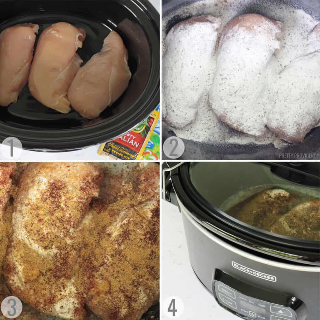 Crockpot shredded chicken step by step collage