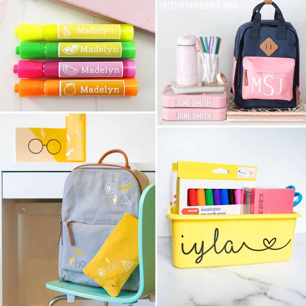 DIY School supplies collage - highlighters, backpacks, supply bin