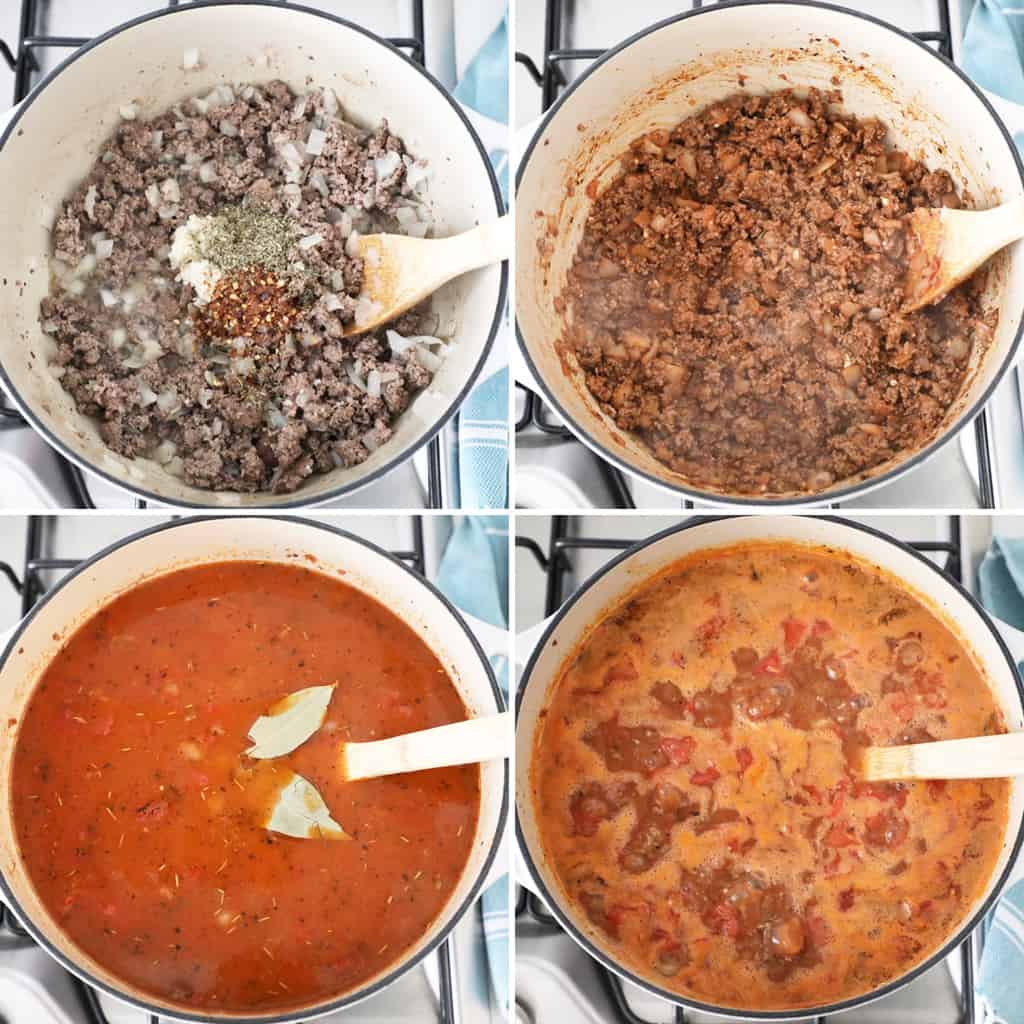 four images showing meat and soup in various stages simmering on a stove