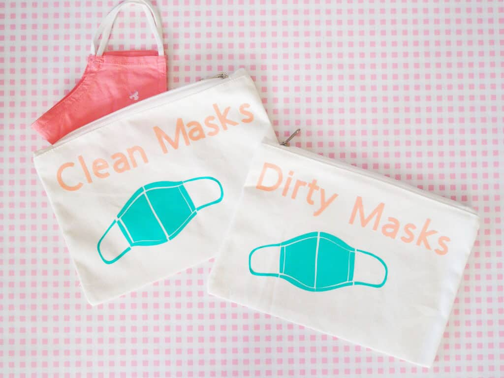 Two small bags one reads 'clean masks and one reads 'dirty masks'