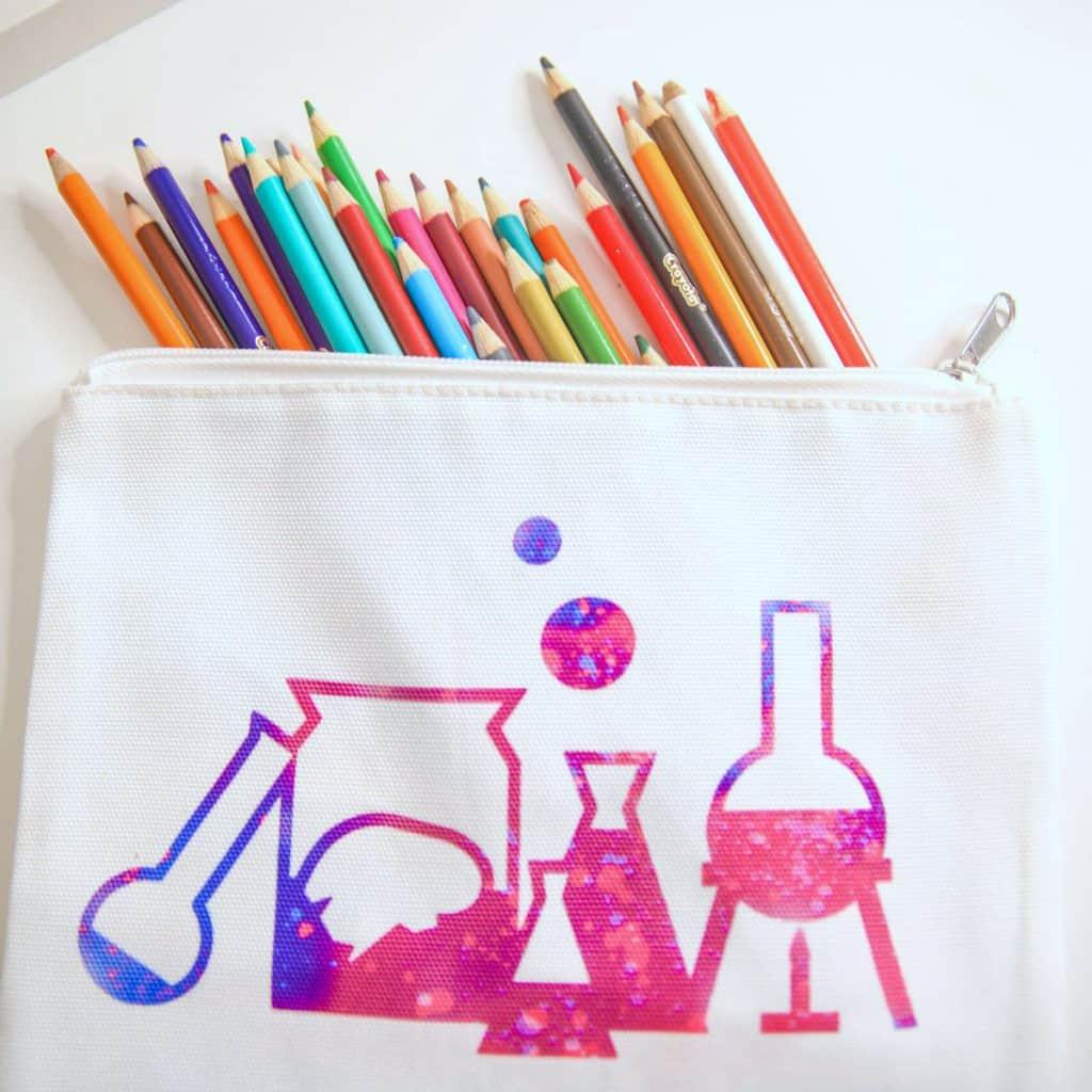 Molecule design on a pencil bag with colored pencils