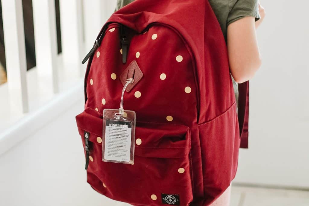 Metallic Gold Polka Dots on Red Backpack